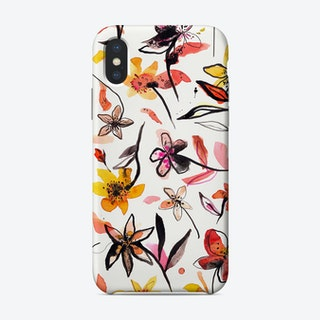 Ink Flowers Yellow Phone Case