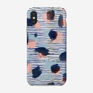 Watercolor Stains Stripes Navy Phone Case