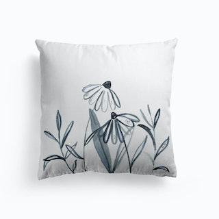 Wildflower Line Work Illustration Cushion