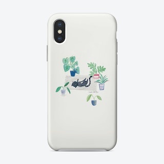 Painted Black Cat On Rug Phone Case