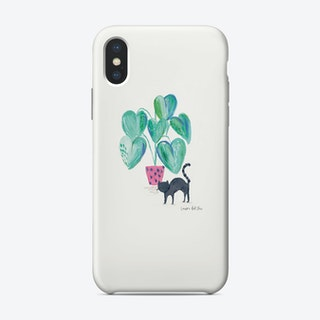 Painted Black Cat And House Plant Phone Case Phone Case
