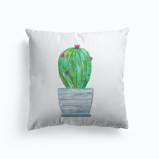 Painted Cactus In Grey Patterned Pot Cushion