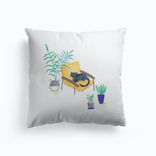 Painted Black Cat In Scandi Chair Cushion