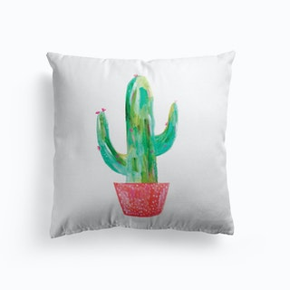 Painted Cactus In Coral Pot Cushion