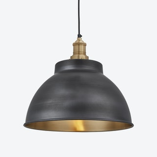 BROOKLYN Dome Pendant Light in Pewter w/ Brass Holder