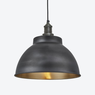 BROOKLYN Dome Pendant Light in Pewter w/ Pewter Holder