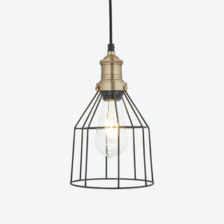 6 inch BROOKLYN Wire Cage Pendant Light in Pewter w/ Brass Holder