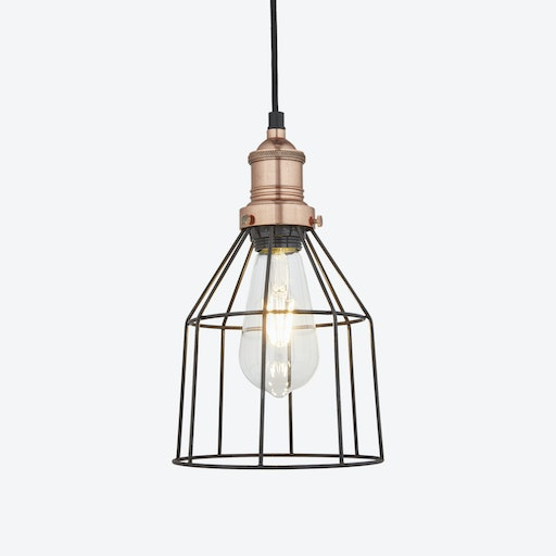 6 inch BROOKLYN Wire Cage Pendant Light in Pewter w/ Copper Holder