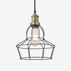 8 inch BROOKLYN Wire Cage Pendant Light in Pewter w/ Brass Holder