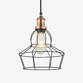 8 inch BROOKLYN Wire Cage Pendant Light in Pewter w/ Copper Holder