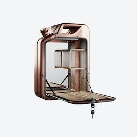 Copper Bar Cabinet w/ Zebrano Shelves