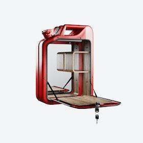 Gas Red Bar Cabinet w/ Zebrano Shelves