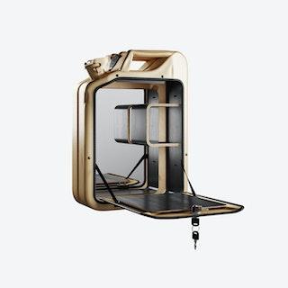 Gold Bar Cabinet w/ Black Stained Oak Shelves