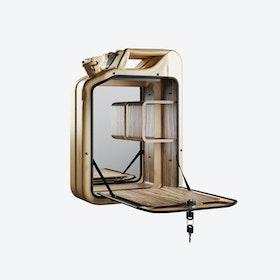 Gold Bar Cabinet w/ Zebrano Shelves
