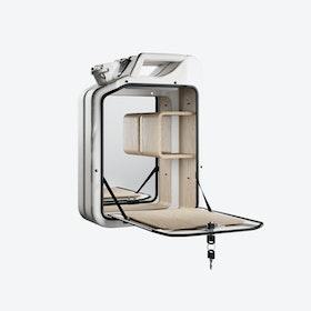 Moscow White Bar Cabinet w/ Oak Shelves