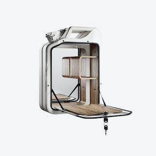 Moscow White Bar Cabinet w/ Zebrano Shelves