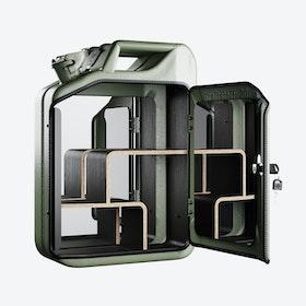 Green Bathroom Cabinet w/ Smoked Oak Veneer Shelves