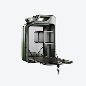 Army Green Bar Cabinet w/ Smoked Oak Shelves