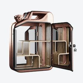 Copper Bathroom Cabinet w/ Zebrano Shelves
