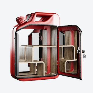Gas Red Bathroom Cabinet w/ Zebrano Shelves