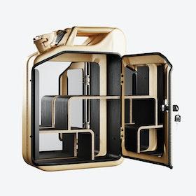 Gold Bathroom Cabinet w/ Smoked Oak Veneer Shelves