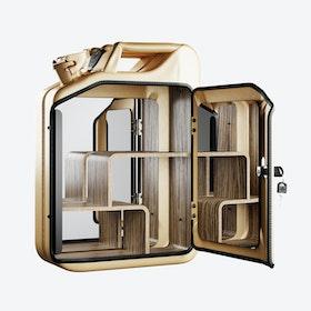 Gold Bathroom Cabinet w/ Zebrano Shelves