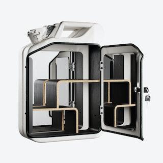 Moscow White Bathroom Cabinet w/ Smoked Oak Veneer Shelves