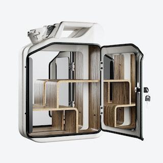 Moscow White Bathroom Cabinet w/ Zebrano Shelves