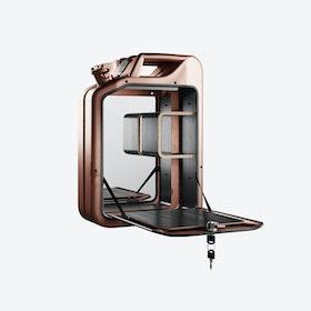 Copper Bar Cabinet w/ Black Stained Oak Shelves