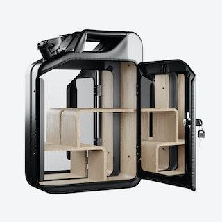 Nano Black Bathroom Cabinet w/ Oak Veneer Shelves