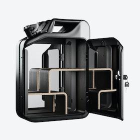 Nano Black Bathroom Cabinet w/ Smoked Oak Veneer Shelves