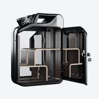 Nano Black Bathroom Cabinet w/ Walnut Veneer Shelves
