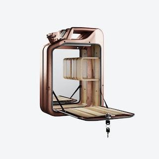 Copper Bar Cabinet w/ Red Gum Shelves