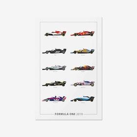 Formula 1 Car Lineup 2019 Print