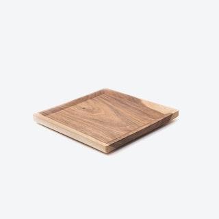 Low OSTE S Wooden Plate in Warm Walnut