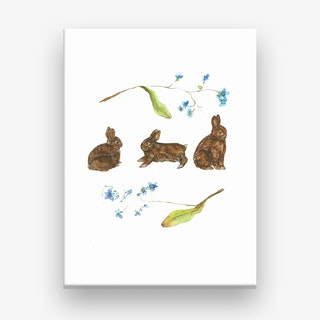 Forget Me Not Rabbits Canvas Print