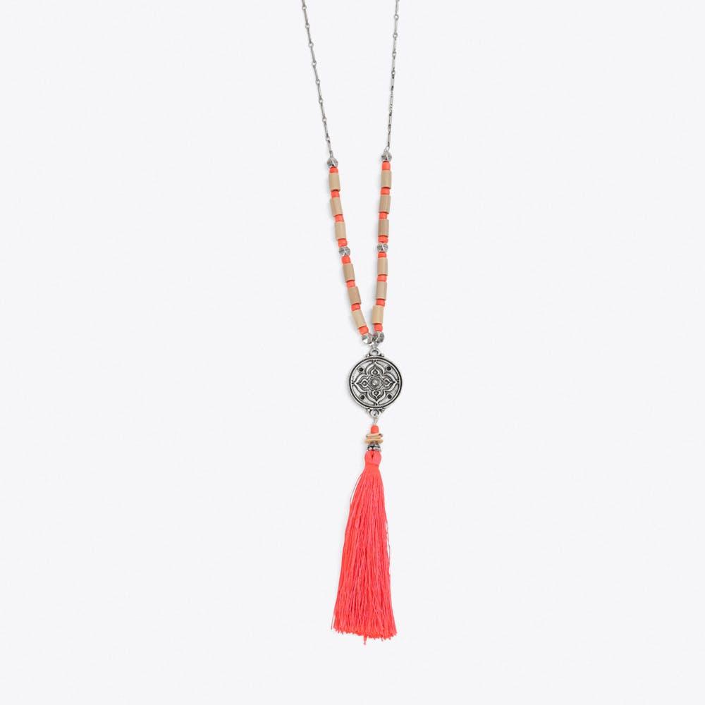 Beaded Tassel Necklace in Orange