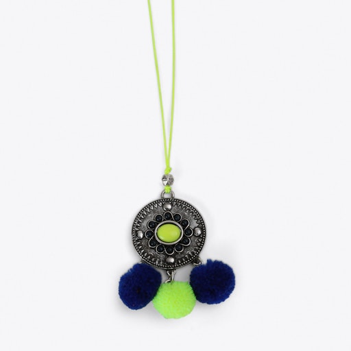 Pom Pom Charm Necklace in Yellow & Blue