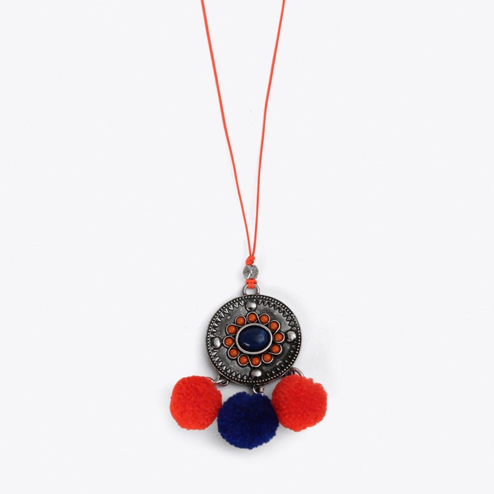 Pom Pom Charm Necklace in Orange & Blue