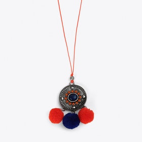 Pom Pom Charm Necklace in Orange & Blue