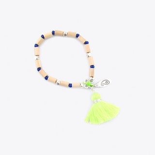 Bead & Tassel Bracelet in Yellow