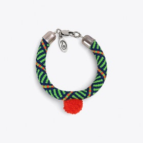 Pom Pom Statement Bracelet in Green
