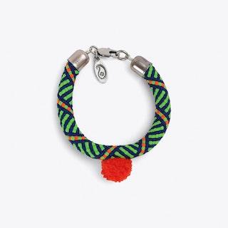 Pom Pom Statement Bracelet in Green