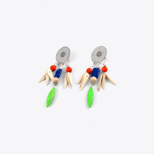 Tribal Drop Earrings in Green
