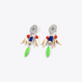 Tribal Drop Earrings in Green