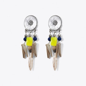 Tribal Drop Earrings in Yellow