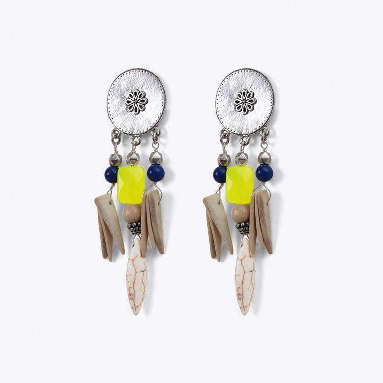 Tribal Drop Earrings in Yellow