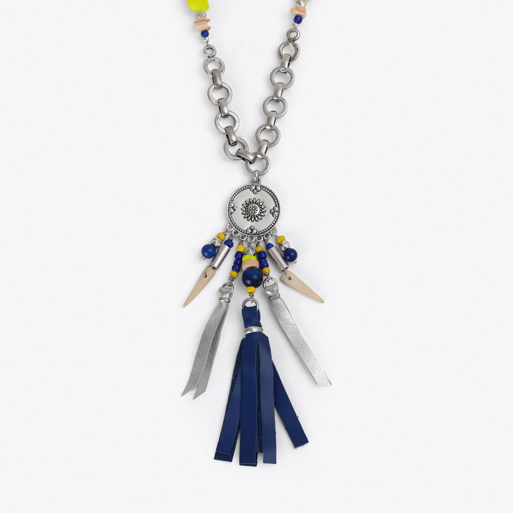 Tribal Charm & Tassel Necklace in Blue