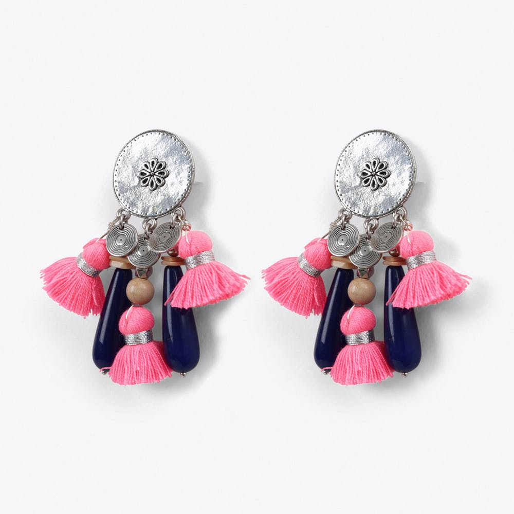 Tribal Tassel Earrings in Pink
