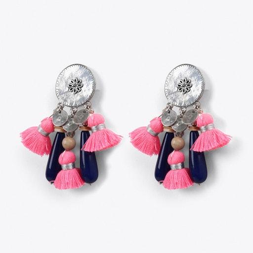 Tribal Tassel Earrings in Pink